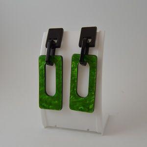 Black & Green Color Block Dangle Earrings